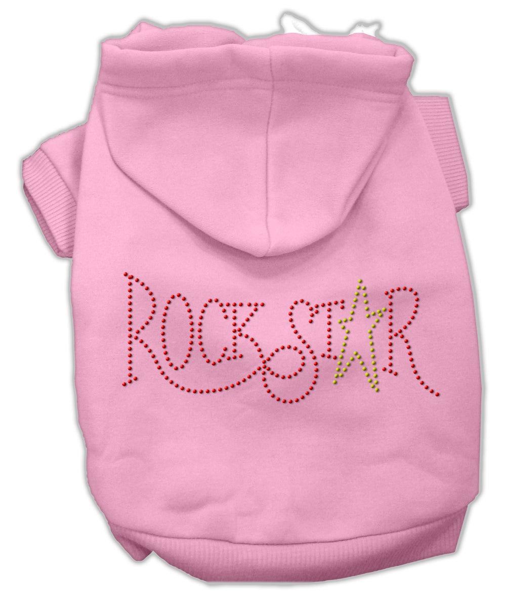 Rock Star Rhinestone Hoodies Pink S (10)
