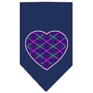 Argyle Heart Purple Screen Print Bandana Navy Blue Small