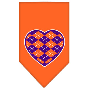Argyle Heart Purple Screen Print Bandana Orange Large