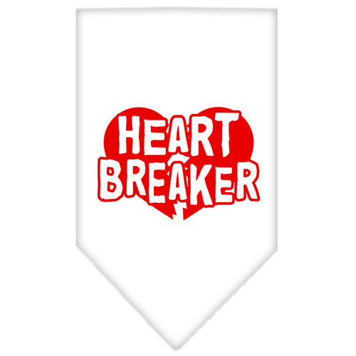 Heart Breaker Screen Print Bandana White Large