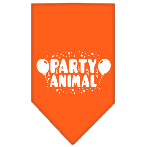 Party Animal Screen Print Bandana Orange Small
