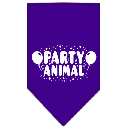 Party Animal Screen Print Bandana Purple Large