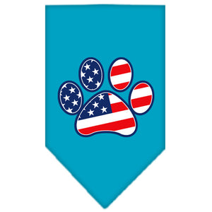 Patriotic Paw Screen Print Bandana Turquoise Small