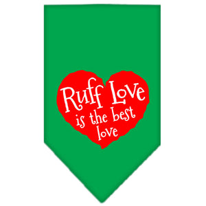 Ruff Love Screen Print Bandana Emerald Green Large