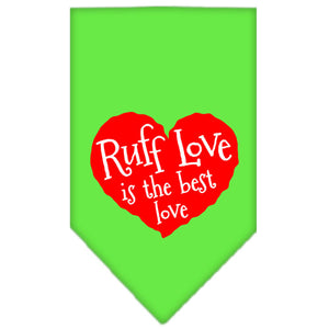 Ruff Love Screen Print Bandana Lime Green Large