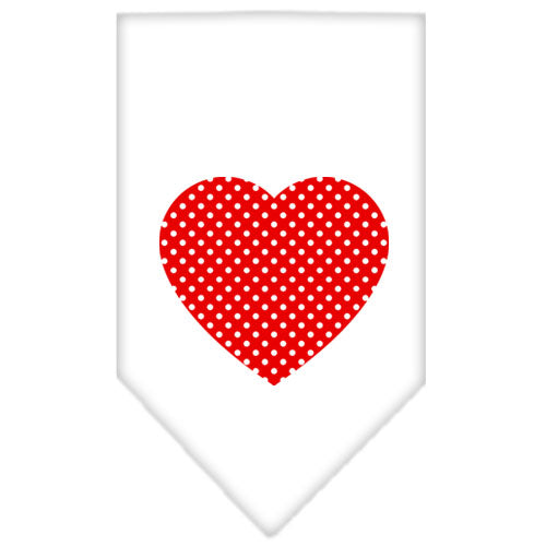Red Swiss Dot Heart Screen Print Bandana White Large