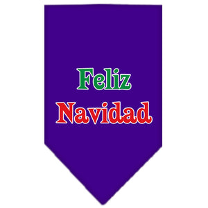 Feliz Navidad Screen Print Bandana Purple Small