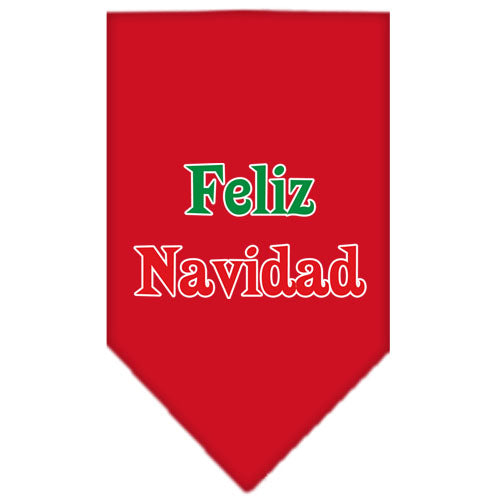 Feliz Navidad Screen Print Bandana Red Large