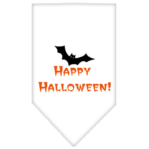 Happy Halloween Screen Print Bandana White Large