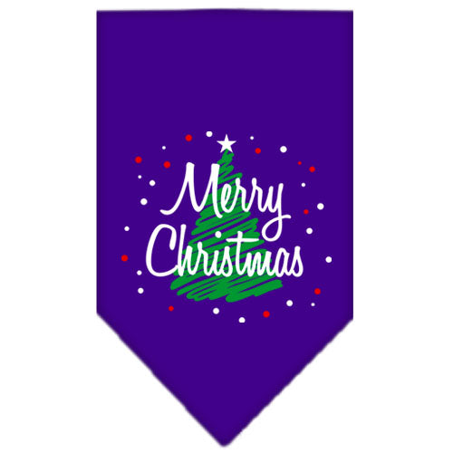 Scribble Merry Christmas Screen Print Bandana Purple Small