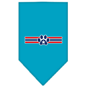 Patriotic Star Paw Screen Print Bandana Turquoise Large