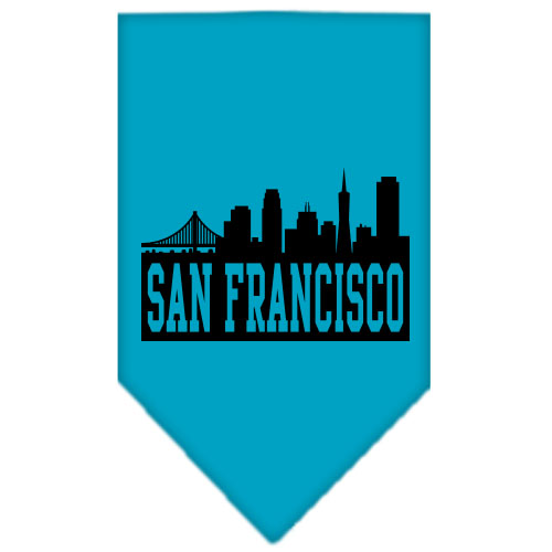 San Francisco Skyline Screen Print Bandana Turquoise Small