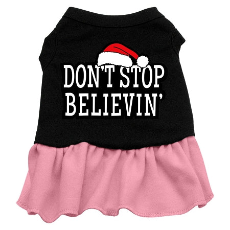 Don't Stop Believin' Screen Print Dress Black with Pink Sm (10)