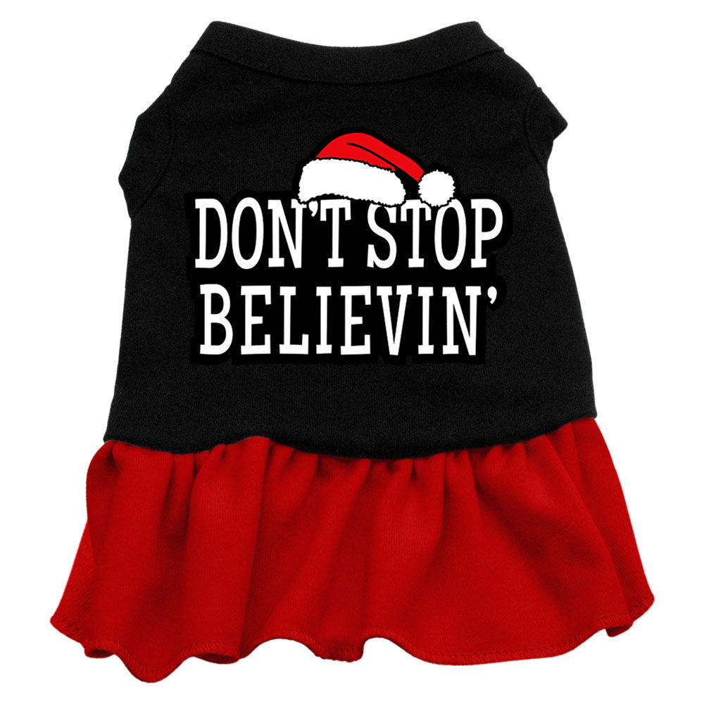 Don't Stop Believin' Screen Print Dress Black with Red Lg (14)