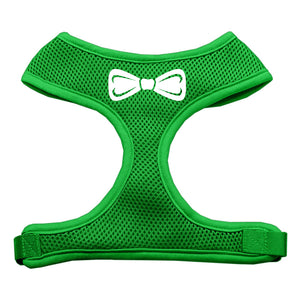 Bow Tie Screen Print Soft Mesh Harness Emerald Green Small