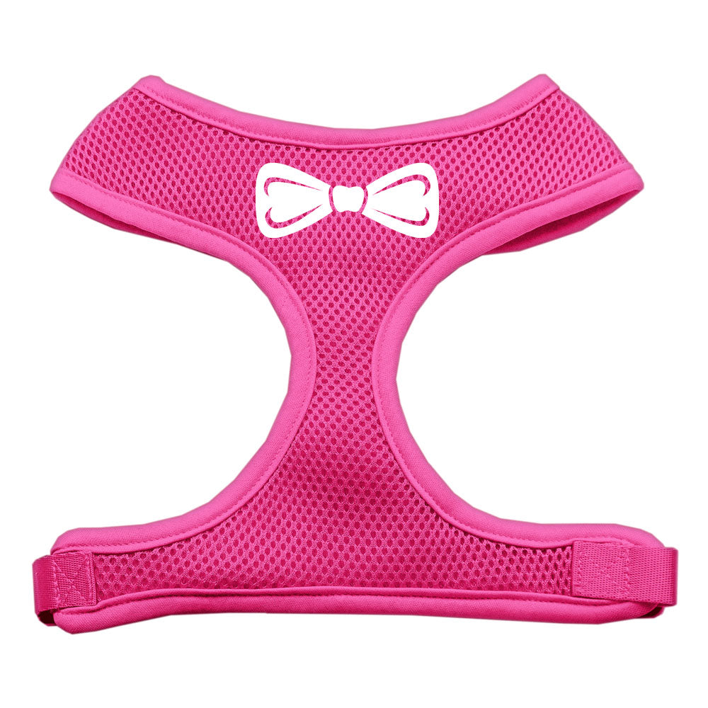 Bow Tie Screen Print Soft Mesh Harness Pink Small