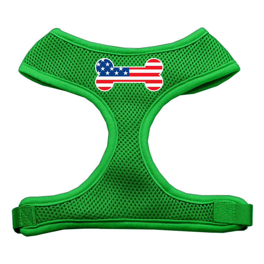 Bone Flag USA Screen Print Soft Mesh Harness Emerald Green Large