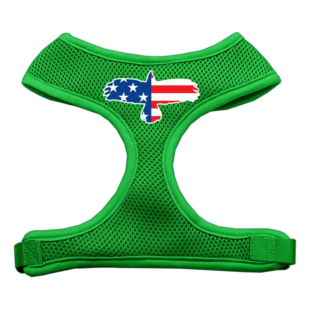 Eagle Flag  Screen Print Soft Mesh Harness Emerald Green Extra Large