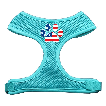 Paw Flag USA Screen Print Soft Mesh Harness Aqua Large