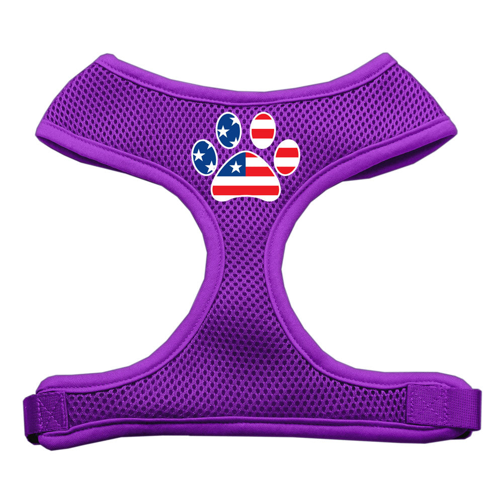 Paw Flag USA Screen Print Soft Mesh Harness Purple Medium