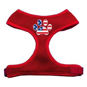 Paw Flag USA Screen Print Soft Mesh Harness Red Large