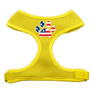 Paw Flag USA Screen Print Soft Mesh Harness Yellow Medium