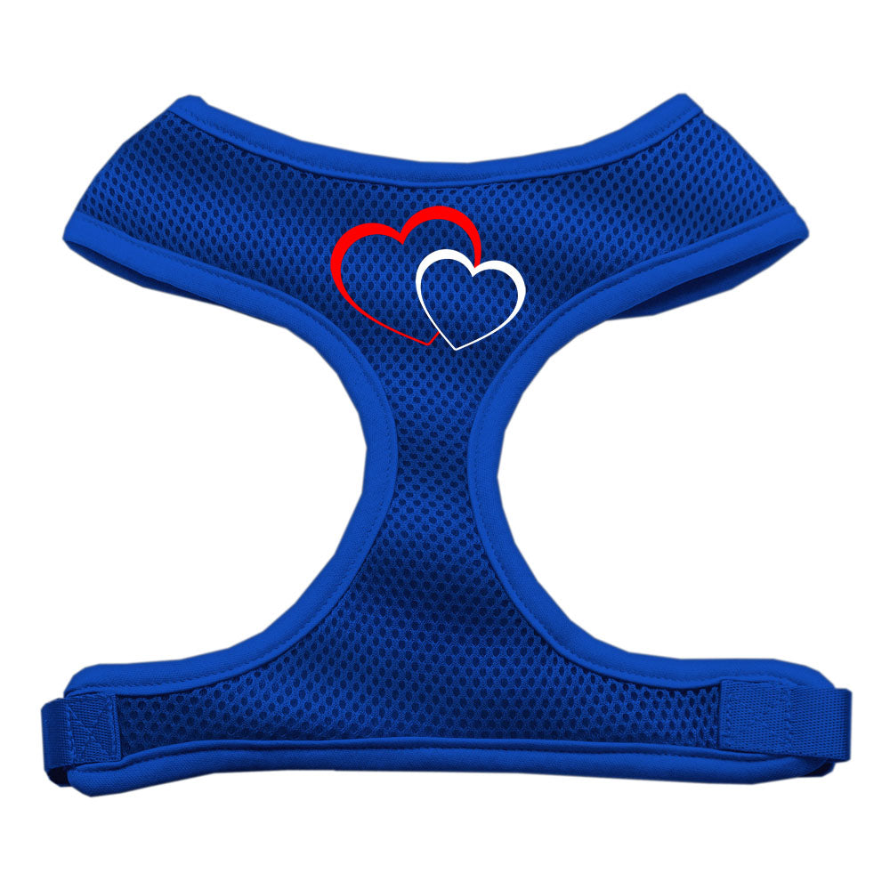 Double Heart Design Soft Mesh Harnesses Blue Small