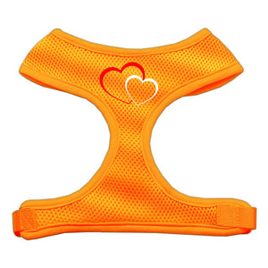 Double Heart Design Soft Mesh Harnesses Orange Large