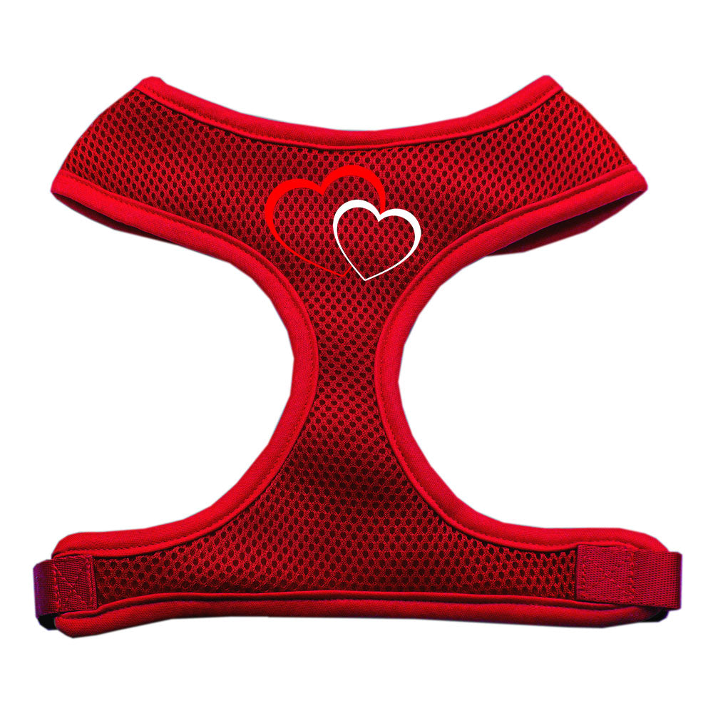 Double Heart Design Soft Mesh Harnesses Red Large