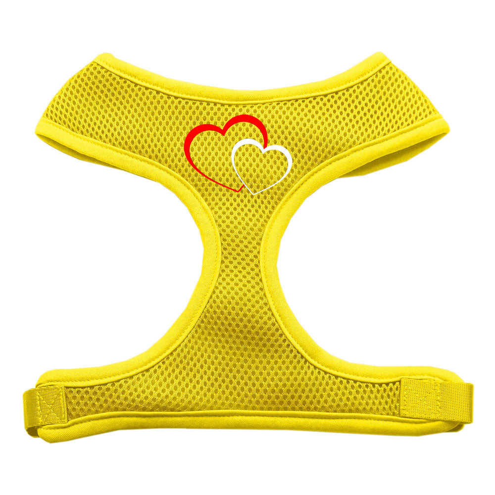 Double Heart Design Soft Mesh Harnesses Yellow Small