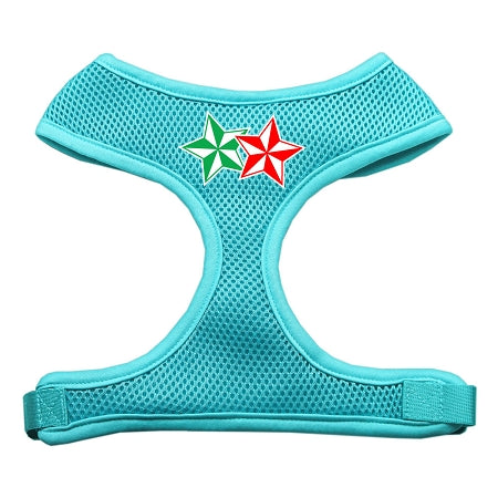 Double Holiday Star Screen Print Mesh Harness Aqua Large