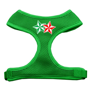 Double Holiday Star Screen Print Mesh Harness Emerald Green Small