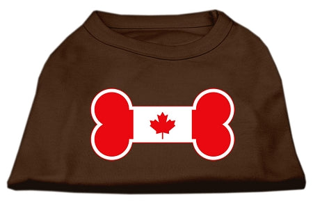 Bone Shaped Canadian Flag Screen Print Shirts Brown XL (16)