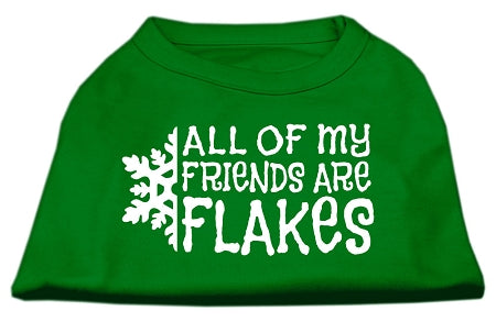 All my Friends are Flakes Screen Print Shirt Emerald Green XXXL (20)
