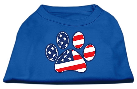 Patriotic Paw Screen Print Shirts Blue XS (8)