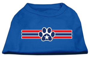 Patriotic Star Paw Screen Print Shirts Blue XS (8)