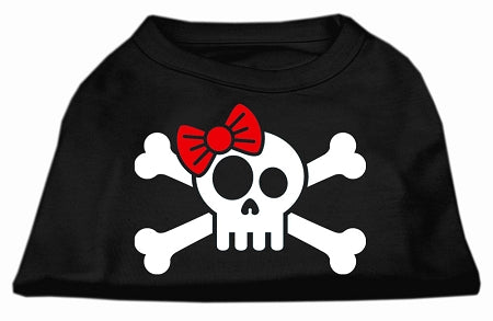 Skull Crossbone Bow Screen Print Shirt Black Sm (10)