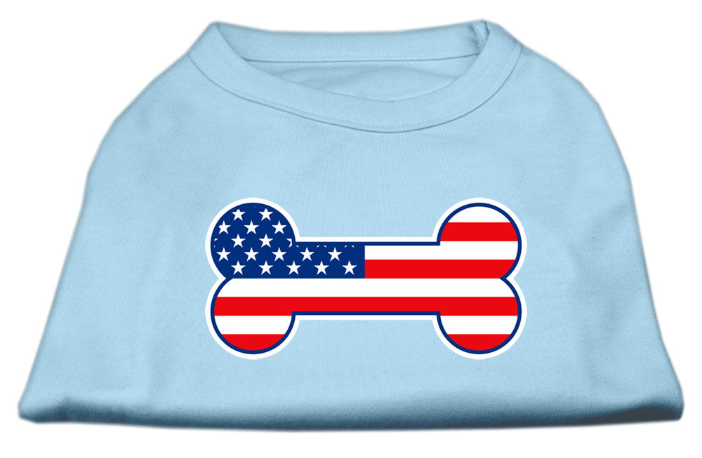 Bone Shaped American Flag Screen Print Shirts  Baby Blue XS (8)