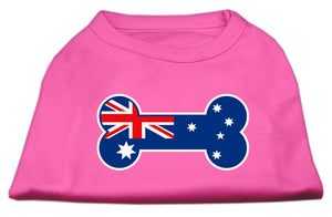Bone Shaped Australian Flag Screen Print Shirts Bright Pink M (12)