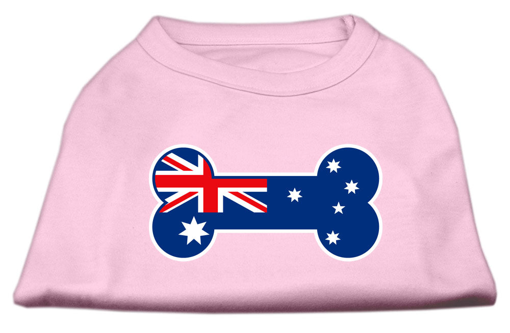 Bone Shaped Australian Flag Screen Print Shirts Light Pink XXXL(20)