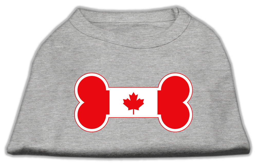 Bone Shaped Canadian Flag Screen Print Shirts Grey M (12)