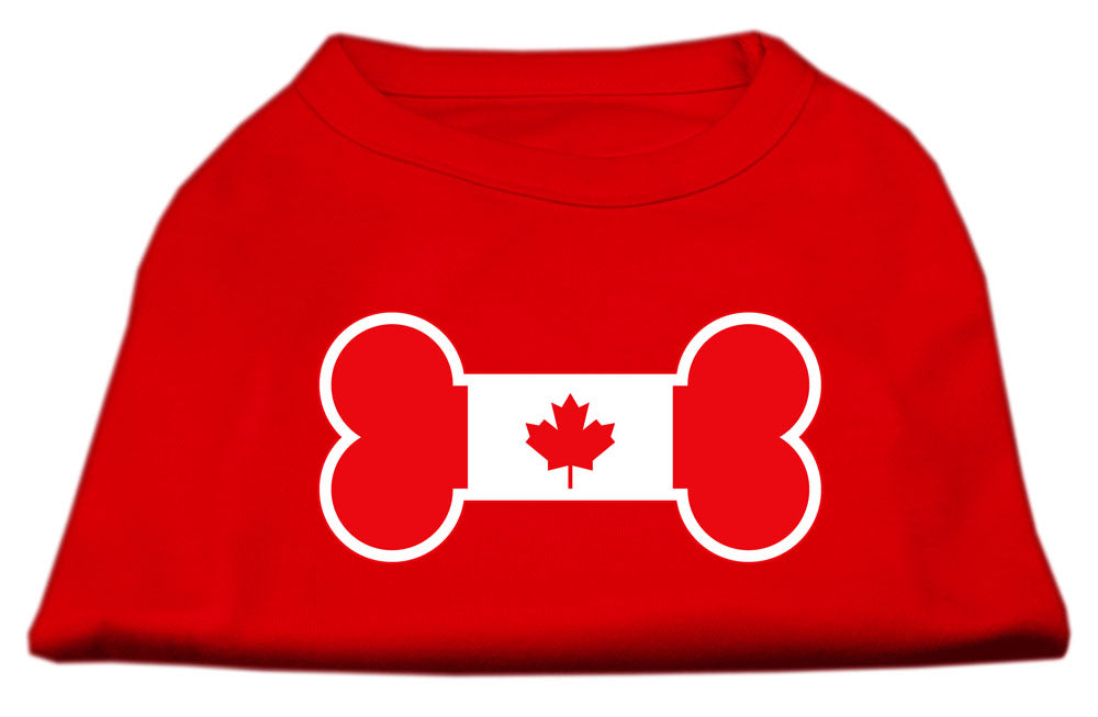 Bone Shaped Canadian Flag Screen Print Shirts Red S (10)