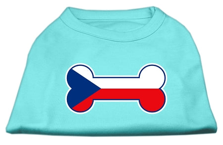 Bone Shaped Czech Republic Flag Screen Print Shirts Aqua XS (8)