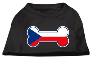 Bone Shaped Czech Republic Flag Screen Print Shirts Black XXXL(20)