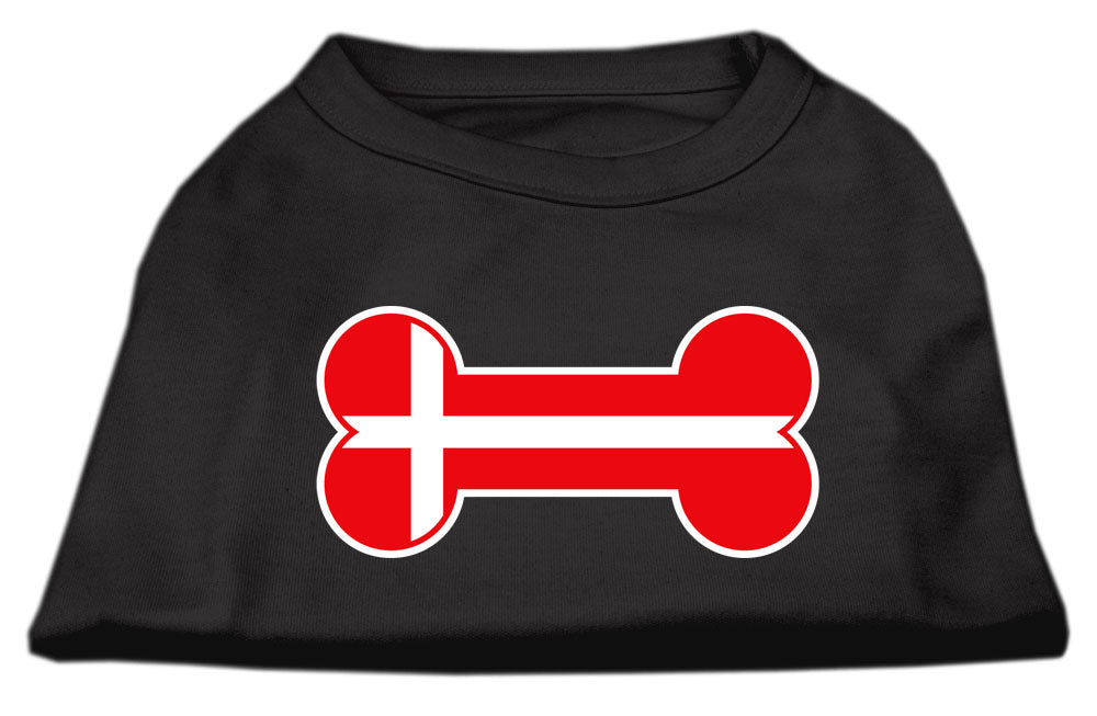 Bone Shaped Denmark Flag Screen Print Shirts Black XL (16)