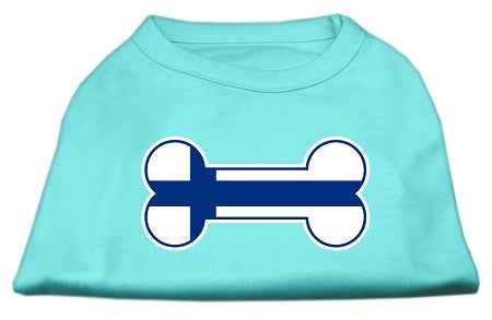 Bone Shaped Finland Flag Screen Print Shirts Aqua XXL (18)