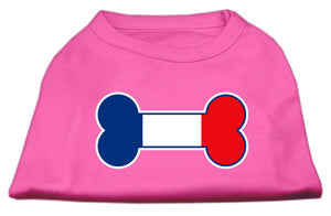 Bone Shaped France Flag Screen Print Shirts Bright Pink XL (16)