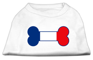 Bone Shaped France Flag Screen Print Shirts White L (14)