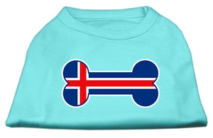 Bone Shaped Iceland Flag Screen Print Shirts Aqua M (12)