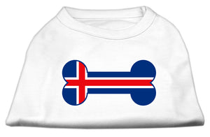 Bone Shaped Iceland Flag Screen Print Shirts White M (12)